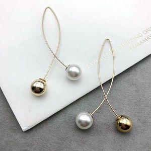 Gold Faux Pearl/Bead Crossover Ear Wire Earrings